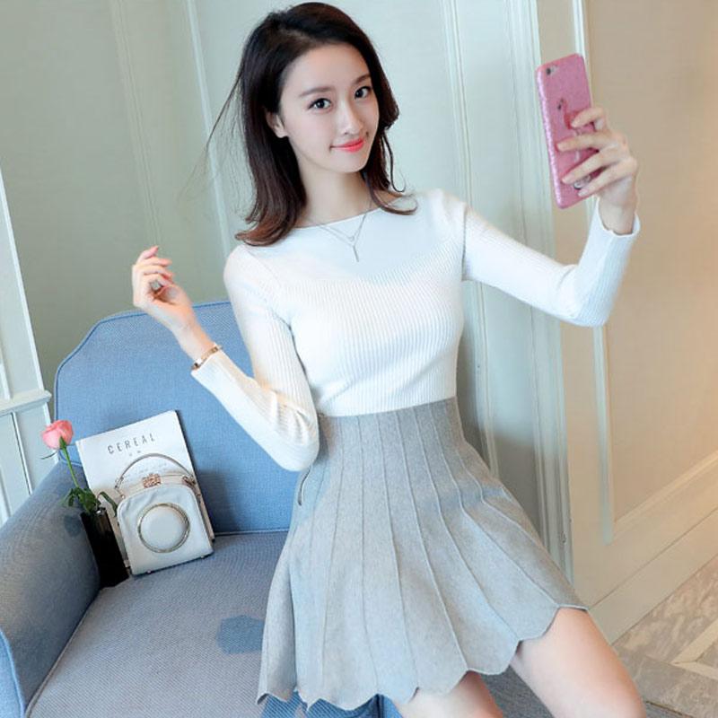 2017秋时尚韩版女装一字领针织衫套头毛衣百搭短款修身打底衫显瘦