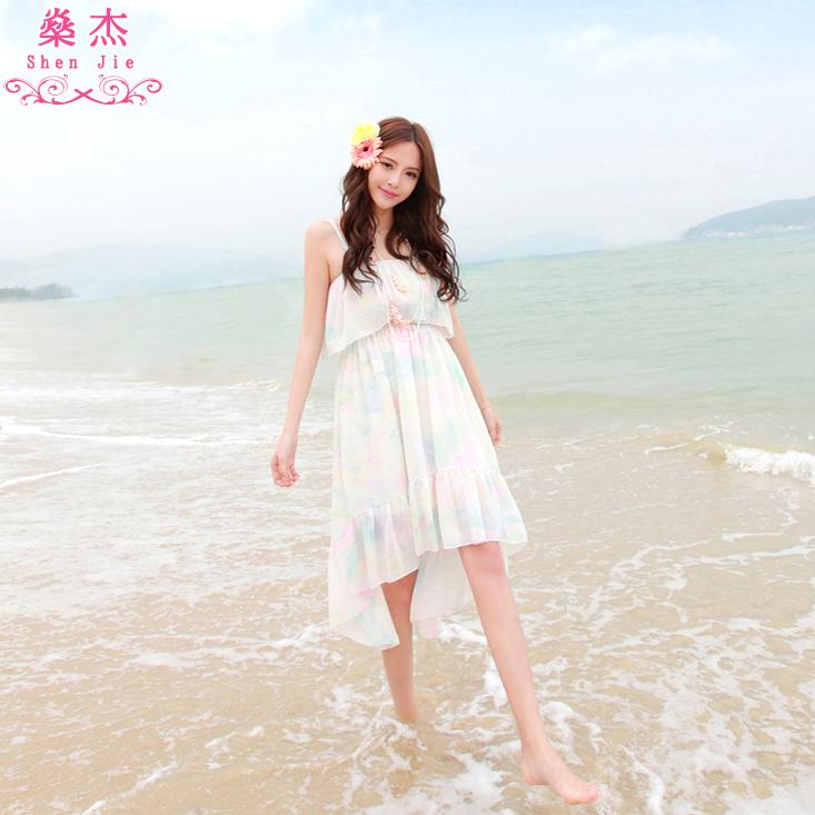 �鼋� 新款仙女波西米亚长裙燕尾不规则沙滩裙旅行度假连衣长裙子