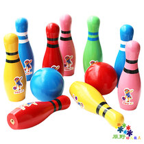 Childrens wooden bowling childrens fitness ball baby sports ball educational toys wooden sense training toys