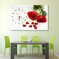 Creative hand-painted solid wood decorative painting clock living room restaurant art clock background wall hanging clockwise frameless mural
