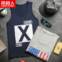 Antarctic mens printing lycra cotton vest mens summer sports casual Korean version of the trend of slim sleeveless shirt