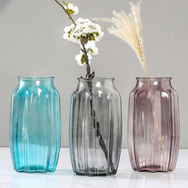 Household European-style simple decorative vase decoration living room creative decoration transparent glass bottle dried flower green bottle