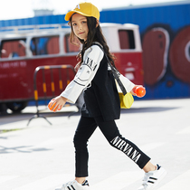 Girls spring suit 2019 new girls foreign spring and autumn tide clothing Korean version of the trendy children's sports two-piece suit