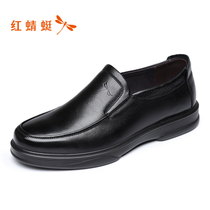 Red Dragonfly mens shoes spring and autumn new casual shoes comfortable leather shoes low to help cover shoes father shoes authentic