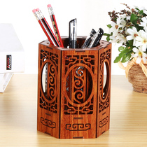 Wooden pen holder creative fashion office supplies multi-functional students Korean cute stationery solid wood desktop storage box