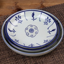 Japanese-style home ceramic plate antique nostalgic blue flower porcelain sunflower plate flower round fruit plate special thick anti-hot.