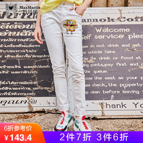 Ma ma ma white jeans female 2019 new spring and autumn Korean version of the high waist was thin hair straight feet pants