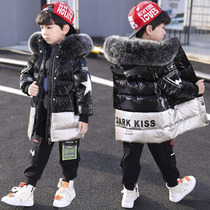 Childrens clothing for boys cotton 2019 New down cotton clothing in the Big childrens winter clothing in the long section of cotton-padded jacket moisture coat tide