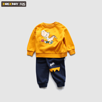 Left West baby sweater suit autumn 2019 New childrens sports two-piece cartoon style baby clothes Tide
