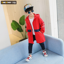 Left West boy windbreaker jacket autumn 2019 New children in the long section of the large childrens spring and autumn Korean version of the tide