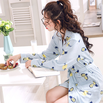 Robe woman spring and Autumn Pajamas Lady Summer cotton sexy Korean version sweet cute bathrobe cotton long sleeve home clothes