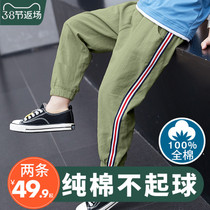 Boys anti-mosquito pants thin 2020 summer new medium-sized children's cotton leprosy loose casual lantern pants tide