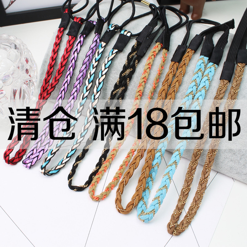 Korean fine leather hair belt ribbon hair hoop chain with Korean bow headband colored hemp braid hair card.