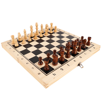 Magnetic chess set folding chessboard beginner childrens black and white chess pieces solid wood chess pieces double queen