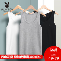 Playboy Vest Mens cotton sweatshirt tide hurdle summer word white bottoming slim tight