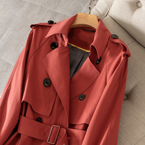 New brick red high-end windbreaker women 2019 autumn new long section British temperament over the knee loose jacket