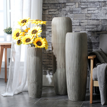 Rich bamboo dried flower ceramic large vase Nordic modern ornament living room flowers floor creative home decoration high
