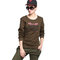Europe and the United States battlefield womens T-shirt military-color round neck slim cotton long-sleeved T-shirt outdoor large size printing shirt autumn new