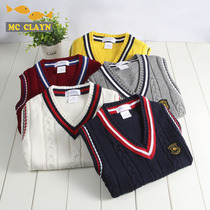 Childrens sweater vest autumn and winter Boys Girls students knitted waistband baby waistcoat warm sweater school uniforms class clothes