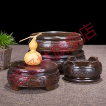 Flower pot view base tray frame solid wood ornaments vase fish tank stone incense burner crafts odd stone bracket round