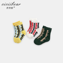 Qi Qi bear spring 2019 new infant lattice four seasons socks men and women baby newborn leisure socks