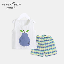 Qi Qi Bear baby clothes cotton gauze suit summer men and women baby cartoon pear vest two-piece
