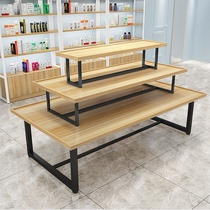 Supermarket in the island shelf heap head cosmetics display cabinet clothing store shoes display promotion table three layers of water