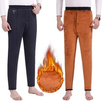 Autumn and winter middle-aged cotton pants plus velvet padded warm pants mens old pants middle-aged elastic waist mens trousers