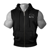 Muscle fitness Brother Summer mens running sports training hooded vest elastic breathable cotton sleeveless vest