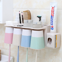 No punch toothbrush rack shelf brushing toothpaste toothbrush squeezing toothpaste shake automatic wall hanging artifact Extrusion