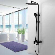 Black thermostatic shower shower set home full copper Ming bathroom Nordic bathroom rain shower nozzle