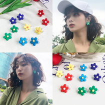 South Korea ins color flowers simple small cute sweet girl heart earrings to sleep without picking earrings female