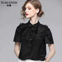 French niche design sense of fashion style lace ruffle collar silk short-sleeved shirt female fairy blouse