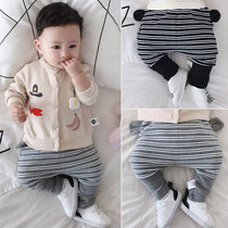 Wakang baby pants wear one-year-old 6-12 months high-waisted striped trousers autumn baby big pp pants