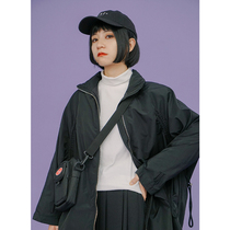 omont Egg Tart home retro loose casual drawstring down jacket female long black coat thick coat winter
