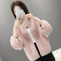 Imitation Mink cashmere sweater coat female Korean version of the spring 2019 New loose fashion beaded Lantern sleeve knit cardigan
