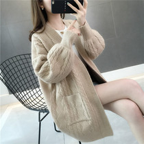 2019 spring new Korean version of the wild solid color sweater womens sweater in the long section of the pocket cardigan jacket female loose