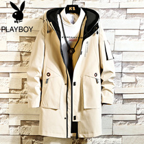 Playboy trench coat men in the long section of the Korean version of the trend of mens winter coat plus velvet new handsome mens coat