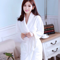 Pajamas autumn and winter flannel pure white thickening sexy coral cashmere warm plus long robe health care bathrobe