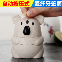 Cartoon koala toothpick tube hand pressure automatic creative cute toothpick box home simple living room toothpick pot portable