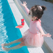 Childrens swimsuit girls Siamese long-sleeved sunscreen princess dress swimwear baby baby holiday swimwear children