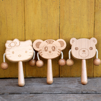 Wooden rattle can bite baby educational toys 6-9-12 months boys and Girls 1 year old baby wooden drum