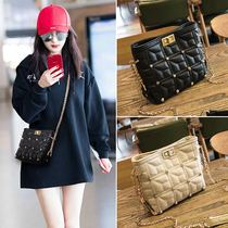 Yang Mi with the bag female 2019 new Korean version of the wild lingge chain bucket leather messenger shoulder bag genuine