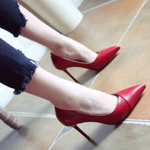 Red Wedding Shoes 2018 autumn and Winter new European and American style pointed shoes leather fine with high heels fashion shoes shoes