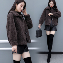 Haining fur sheep shearling coat female short paragraph 2019 New thick thick thin fur one lamb coat winter