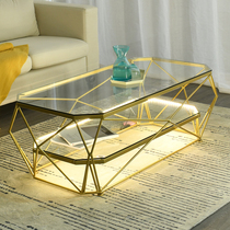 Simple modern coffee table Nordic small apartment living room rectangular tempered glass wrought iron personality Red ins creative