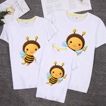 Small bee parent-child summer new short-sleeved T-shirt school uniforms three Mother Mother and daughter Summer Family
