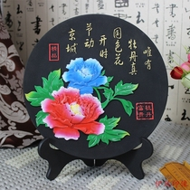 Carving Heze Luoyang peony flower handicraft disc ornaments souvenirs can be customized creative activated carbon