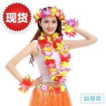 。 10 installed encrypted Hawaiian grass q skirt dance wreath ring collar ring neck ring bar kindergarten show party.