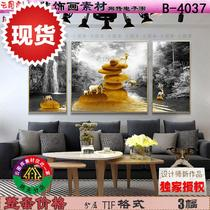 Modern black-and-white landscape new model golden stone moose stone to run decorative painting three-way hanging painting.